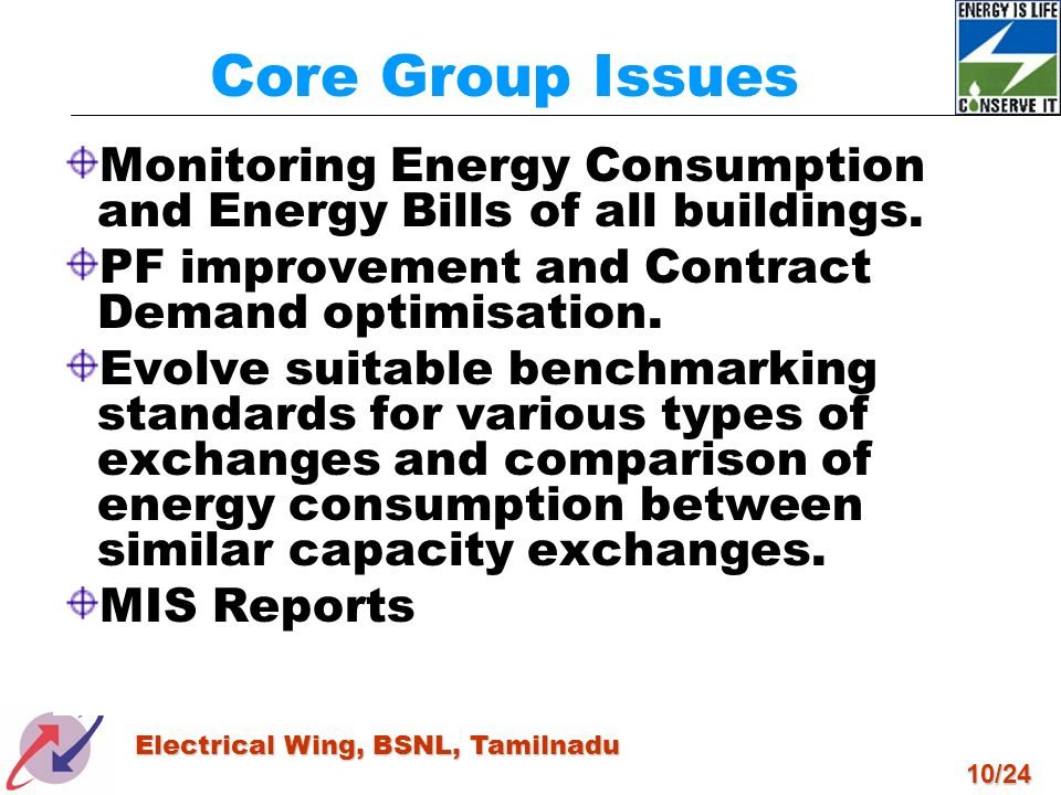 10/24 Electrical Wing, BSNL, Tamilnadu Monitoring Energy Consumption and Energy Bills of all buildings. PF improvement and Contract Demand optimisatio