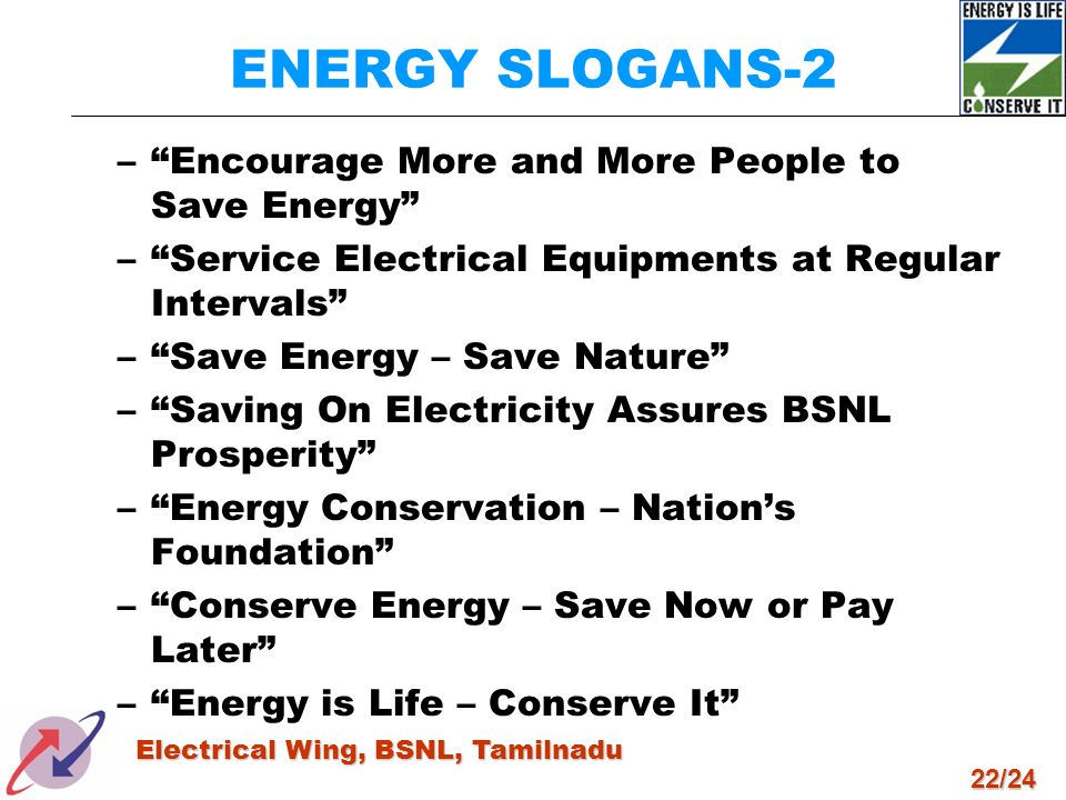 22/24 Electrical Wing, BSNL, Tamilnadu ENERGY SLOGANS-2 –Encourage More and More People to Save Energy –Service Electrical Equipments at Regular Inter