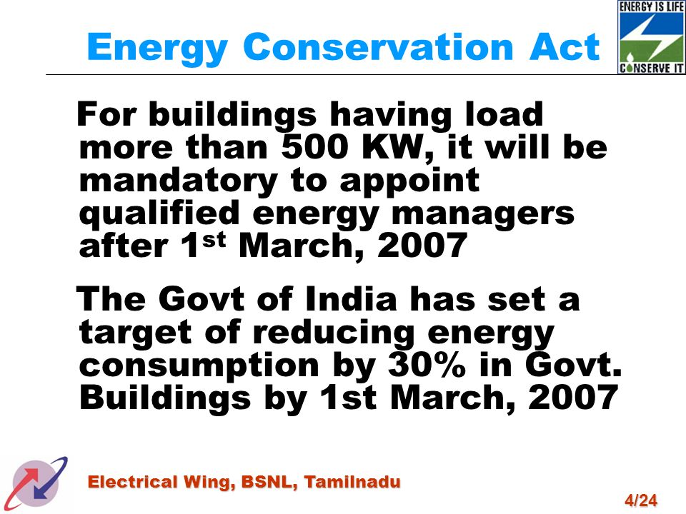 4/24 Electrical Wing, BSNL, Tamilnadu Energy Conservation Act For buildings having load more than 500 KW, it will be mandatory to appoint qualified en
