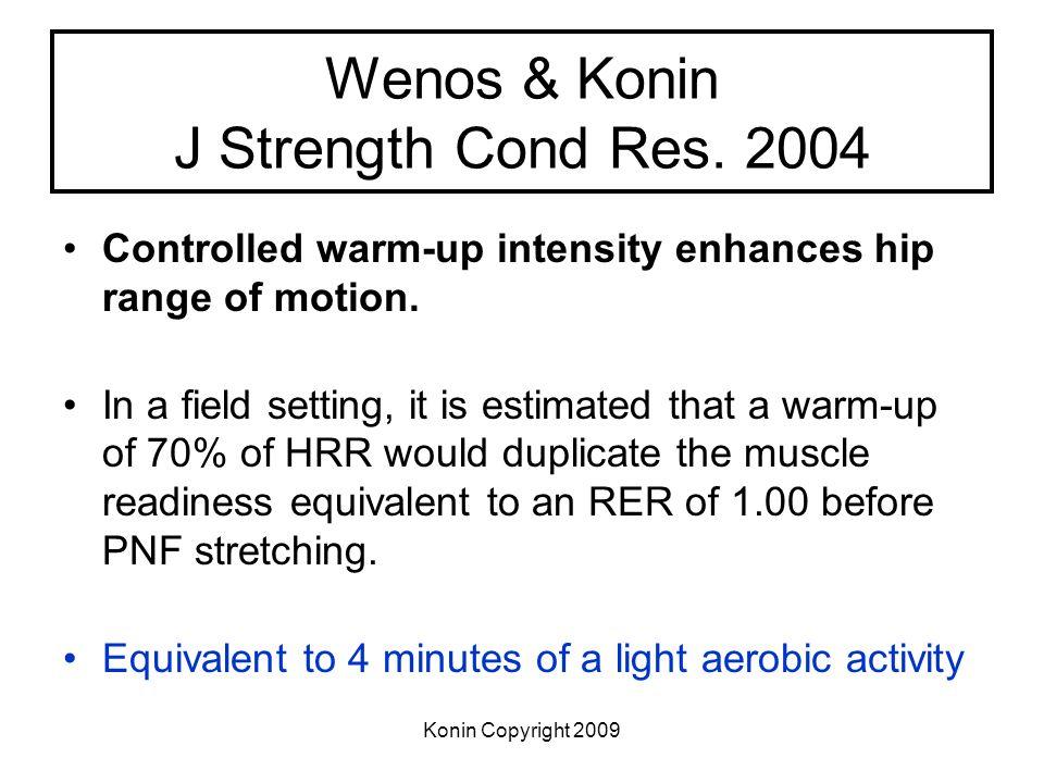 Konin Copyright 2009 Wenos & Konin J Strength Cond Res. 2004 Controlled warm-up intensity enhances hip range of motion. In a field setting, it is esti