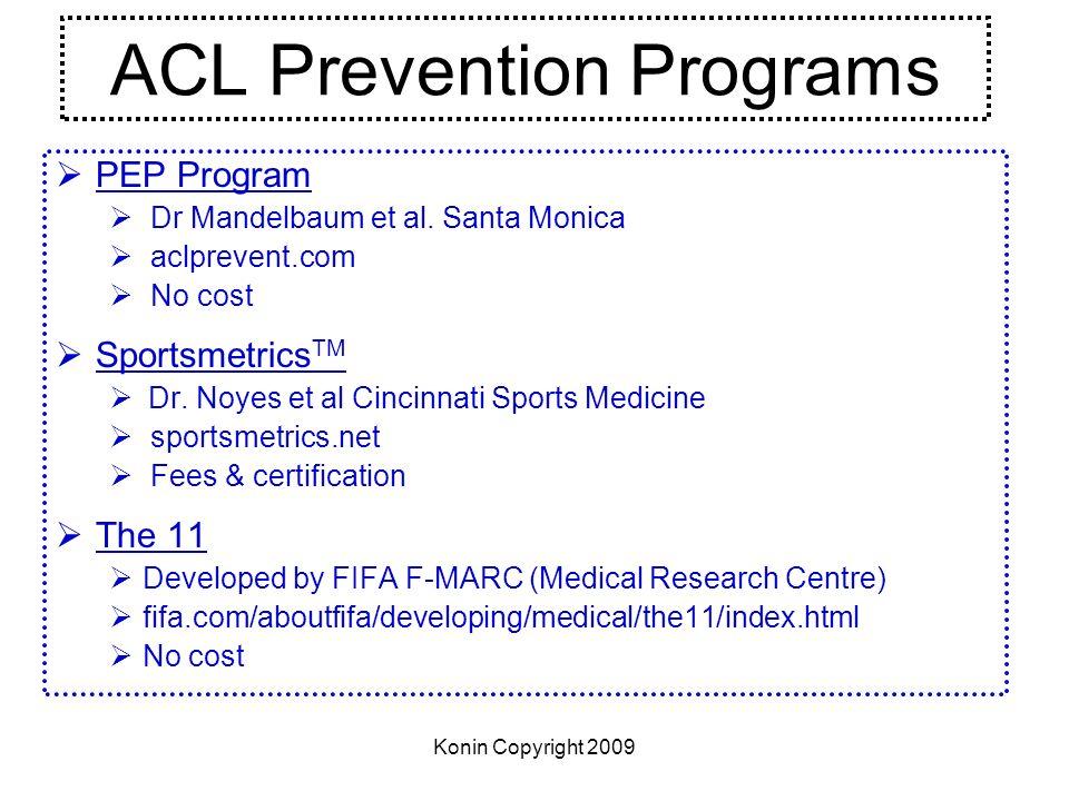Konin Copyright 2009 ACL Prevention Programs PEP Program Dr Mandelbaum et al. Santa Monica aclprevent.com No cost Sportsmetrics TM Dr. Noyes et al Cin