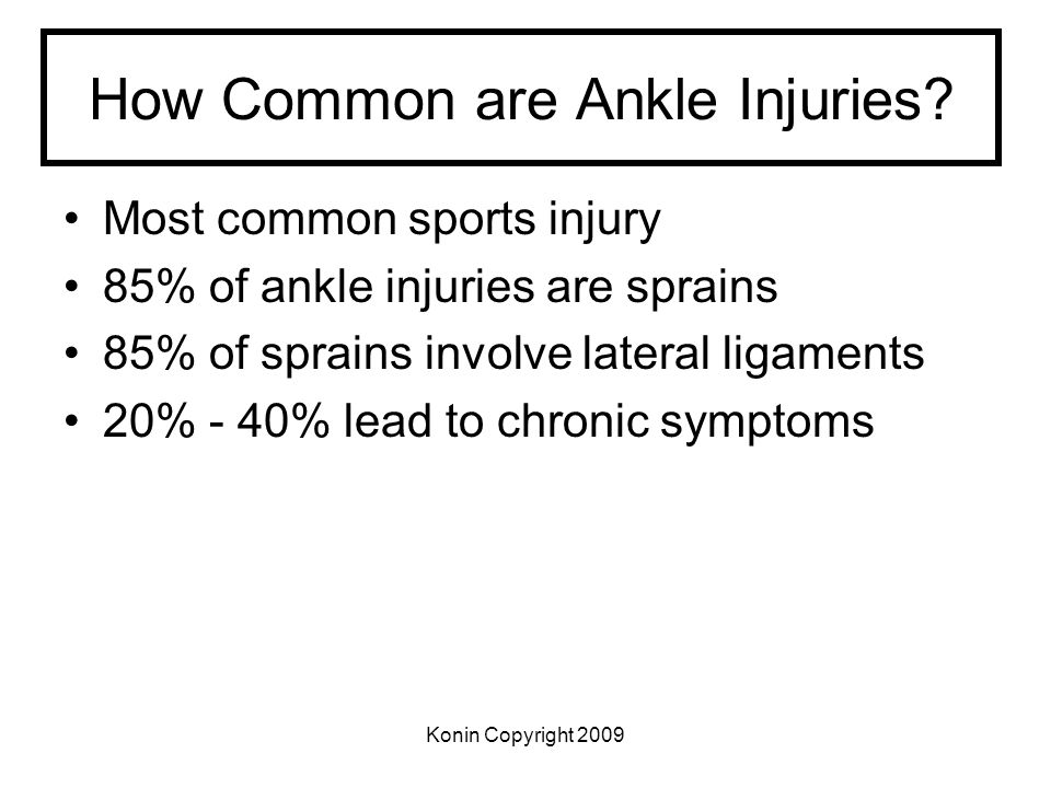 Konin Copyright 2009 How Common are Ankle Injuries? Most common sports injury 85% of ankle injuries are sprains 85% of sprains involve lateral ligamen