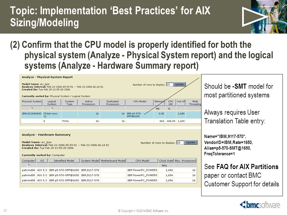 © Copyright 1/16/2014 BMC Software, Inc. 31 Topic: Implementation Best Practices for AIX Sizing/Modeling (2) Confirm that the CPU model is properly id