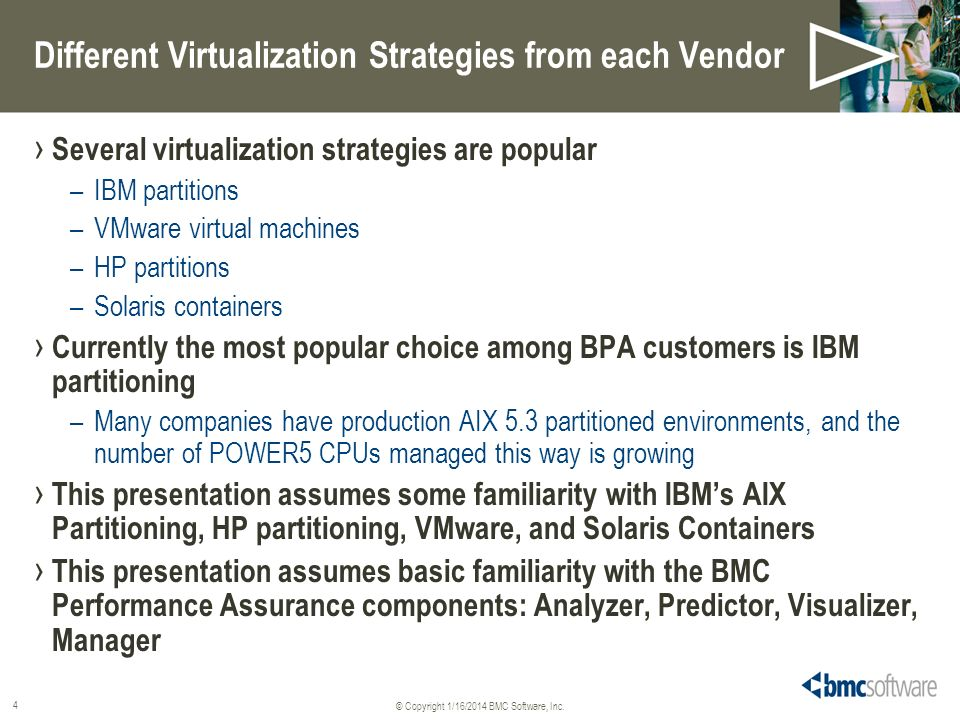 © Copyright 1/16/2014 BMC Software, Inc. 4 Different Virtualization Strategies from each Vendor Several virtualization strategies are popular –IBM par