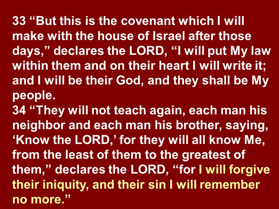33 But this is the covenant which I will make with the house of Israel after those days, declares the LORD, I will put My law within them and on their