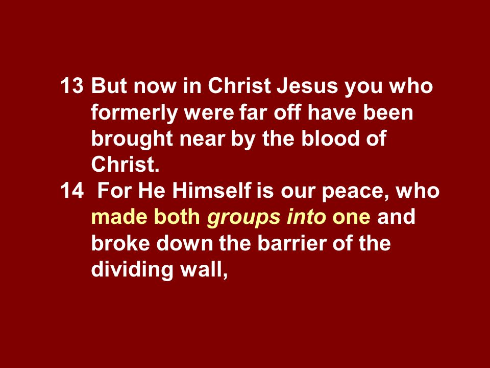 13 But now in Christ Jesus you who formerly were far off have been brought near by the blood of Christ. 14 For He Himself is our peace, who made both