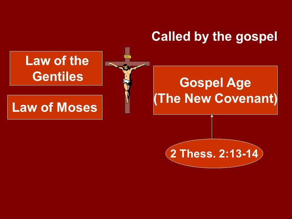 Law of the Gentiles Law of Moses Gospel Age (The New Covenant) 2 Thess. 2:13-14 Called by the gospel