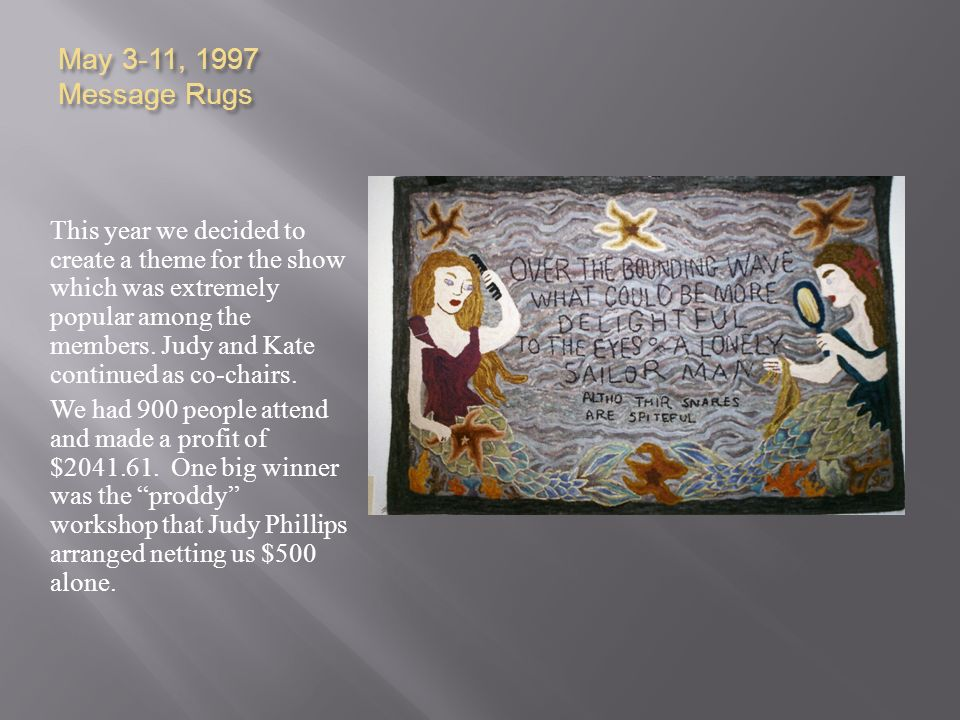 May 3-11, 1997 Message Rugs This year we decided to create a theme for the show which was extremely popular among the members. Judy and Kate continued