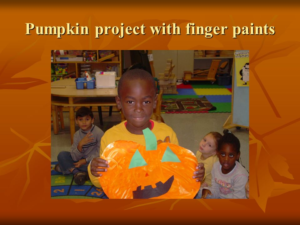 Pumpkin project with finger paints