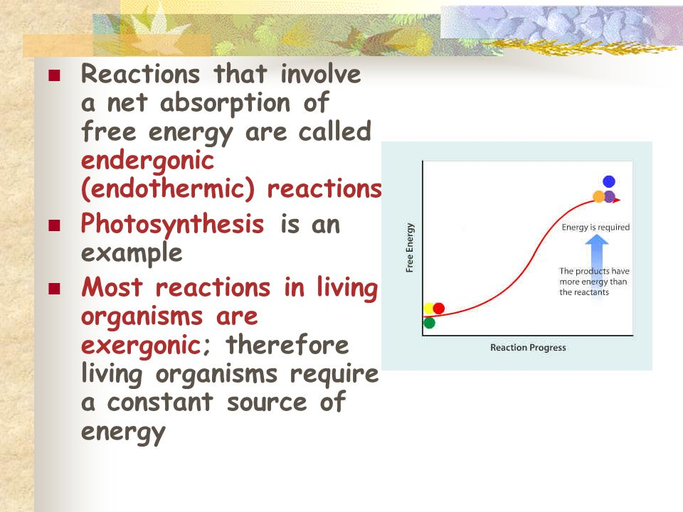 Reactions that involve a net absorption of free energy are called endergonic (endothermic) reactions Photosynthesis is an example Most reactions in li