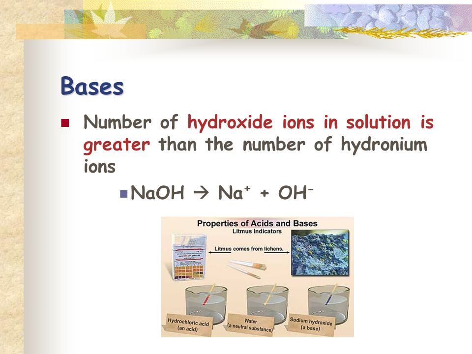 Bases Number of hydroxide ions in solution is greater than the number of hydronium ions NaOH Na + + OH -