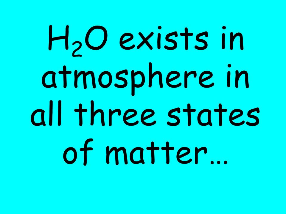 H 2 O exists in atmosphere in all three states of matter…