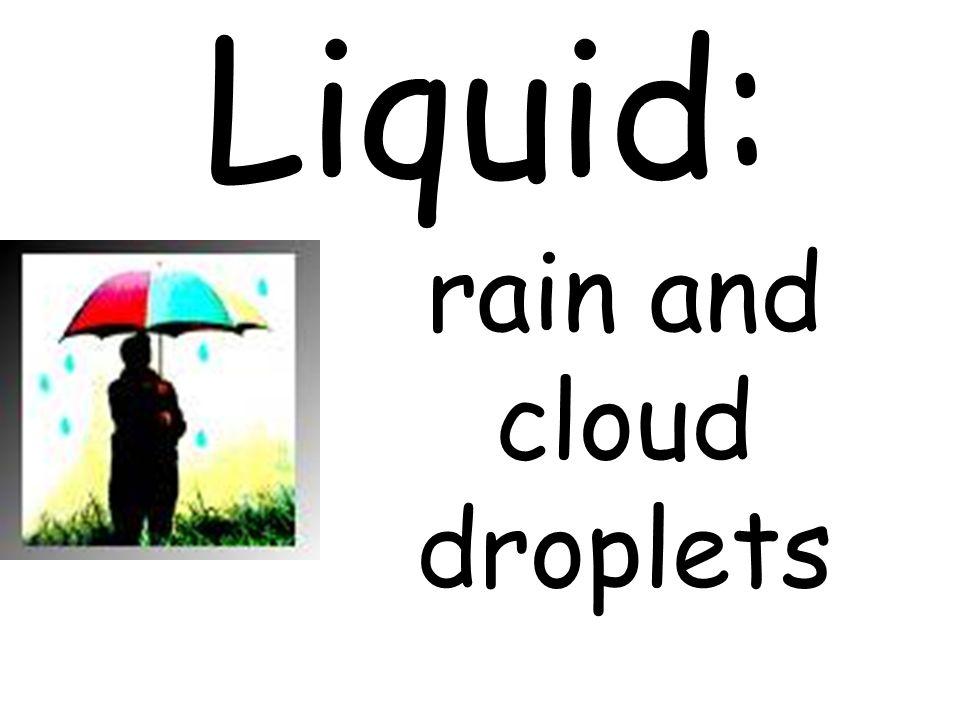 Liquid: rain and cloud droplets