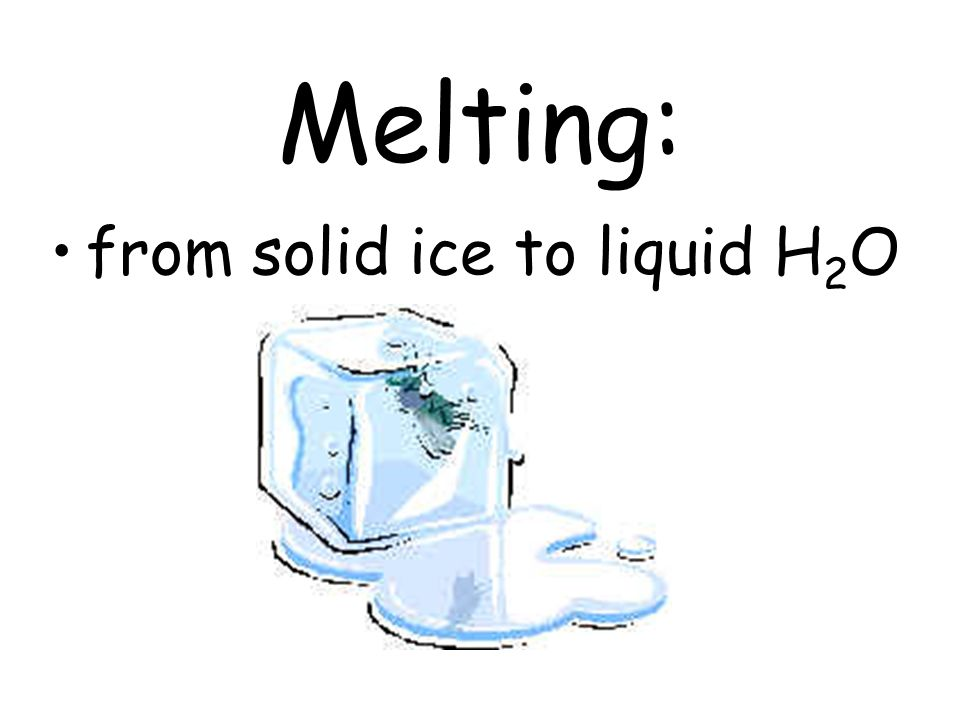 Melting: from solid ice to liquid H 2 O