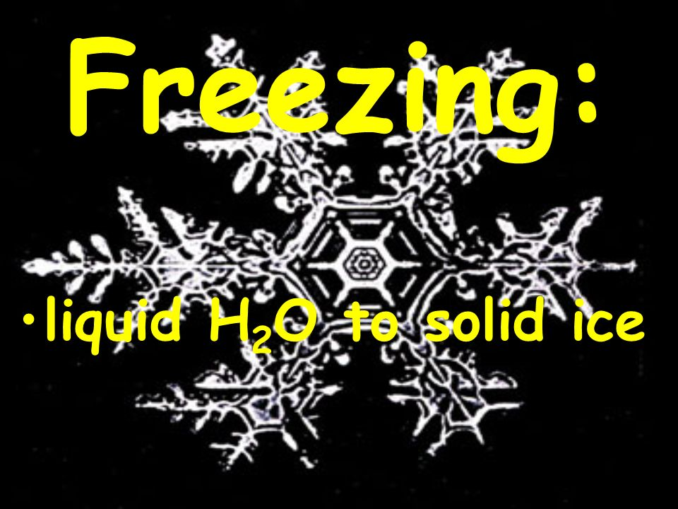 Freezing: liquid H 2 O to solid ice