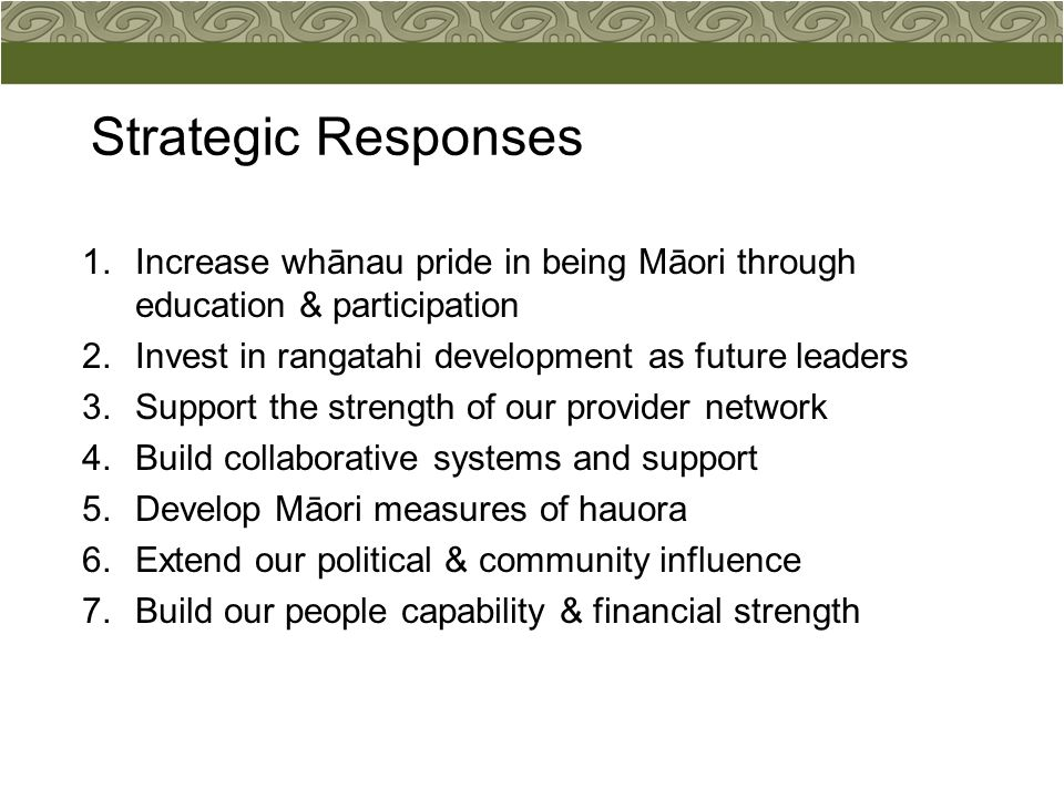Strategic Responses 1.Increase whānau pride in being Māori through education & participation 2.Invest in rangatahi development as future leaders 3.Sup