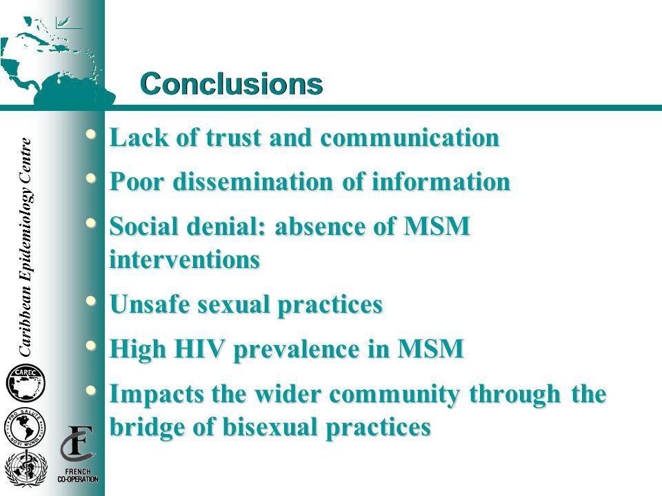 Caribbean Epidemiology Centre Conclusions Lack of trust and communication Lack of trust and communication Poor dissemination of information Poor disse