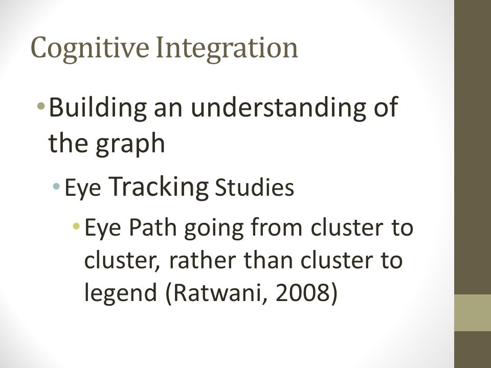 Building an understanding of the graph Eye Tracking Studies Eye Path going from cluster to cluster, rather than cluster to legend (Ratwani, 2008)