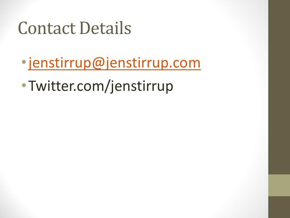 Contact Details jenstirrup@jenstirrup.com Twitter.com/jenstirrup
