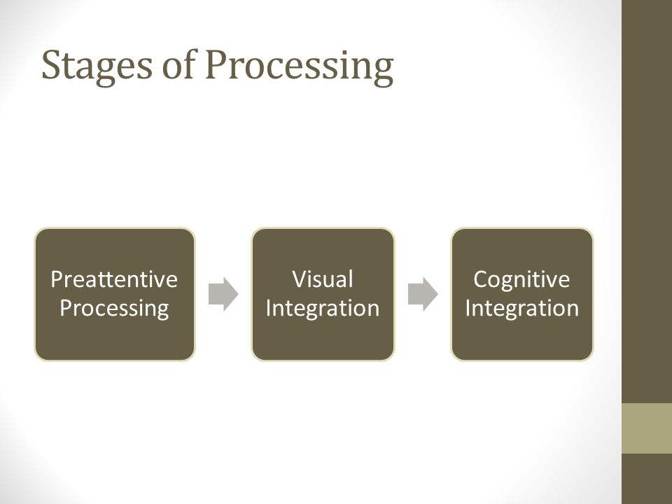 Stages of Processing Preattentive Processing Visual Integration Cognitive Integration