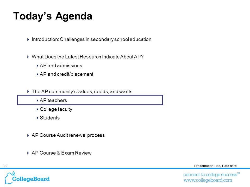 20Presentation Title, Date here Todays Agenda Introduction: Challenges in secondary school education What Does the Latest Research Indicate About AP?