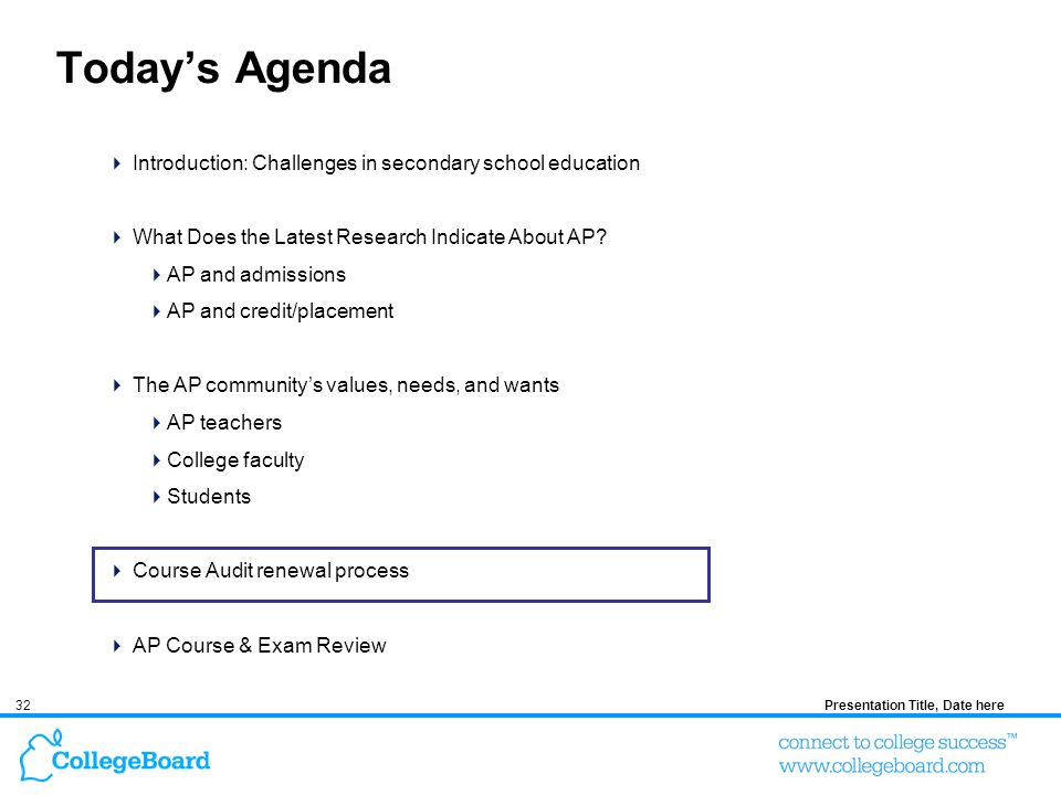 32Presentation Title, Date here Todays Agenda Introduction: Challenges in secondary school education What Does the Latest Research Indicate About AP?