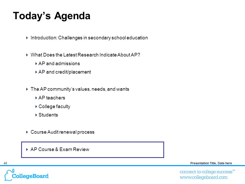 46Presentation Title, Date here Todays Agenda Introduction: Challenges in secondary school education What Does the Latest Research Indicate About AP?
