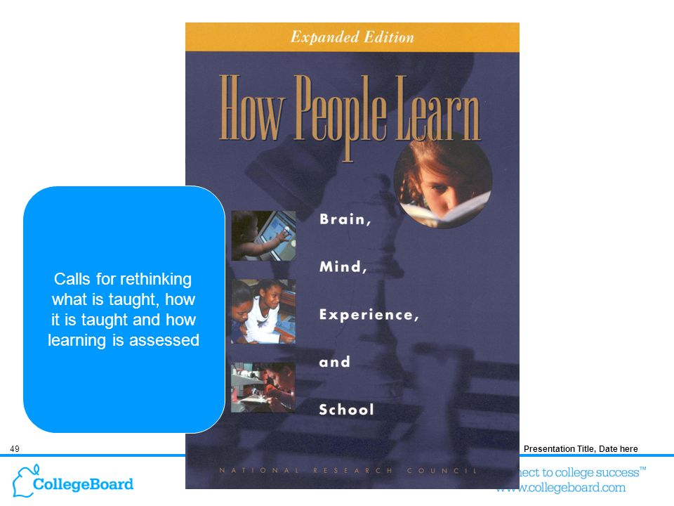 49Presentation Title, Date here Calls for rethinking what is taught, how it is taught and how learning is assessed