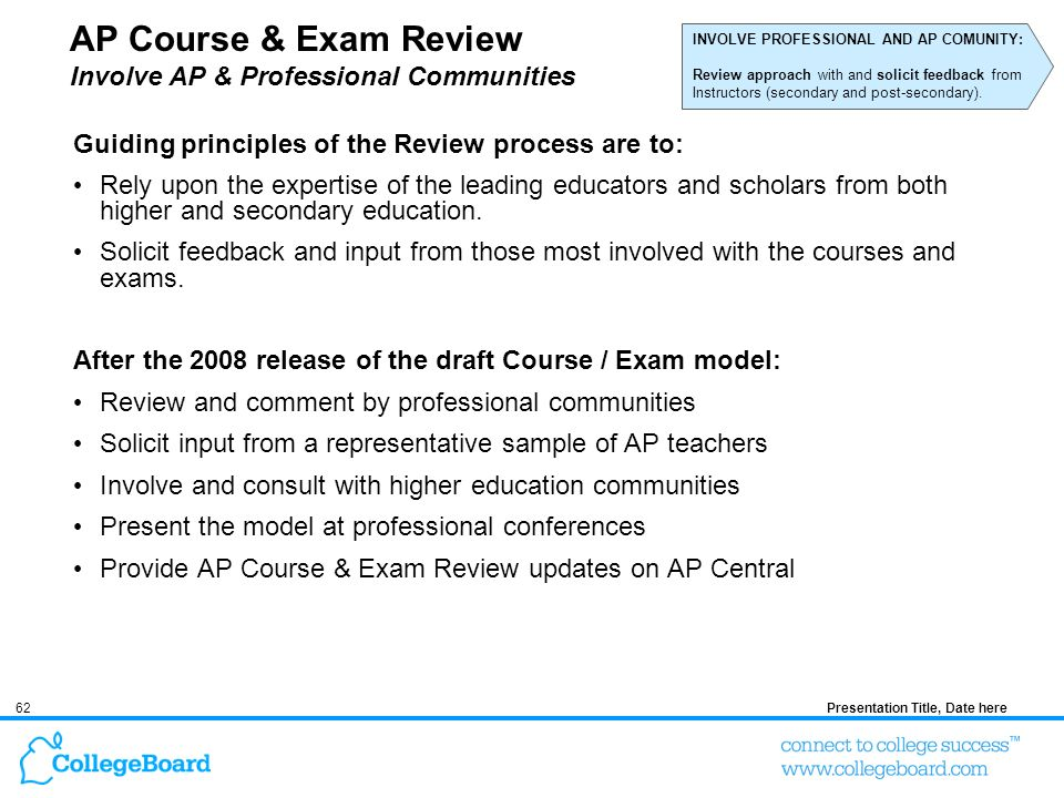 62Presentation Title, Date here AP Course & Exam Review Involve AP & Professional Communities Guiding principles of the Review process are to: Rely up
