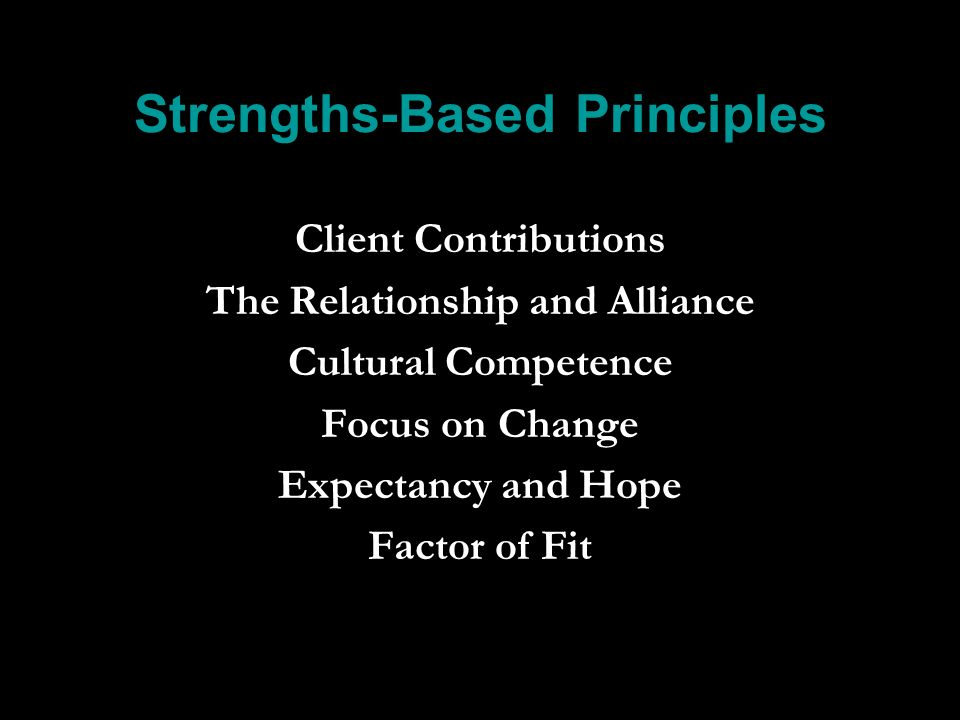 Strengths-Based Principles Client Contributions The Relationship and Alliance Cultural Competence Focus on Change Expectancy and Hope Factor of Fit