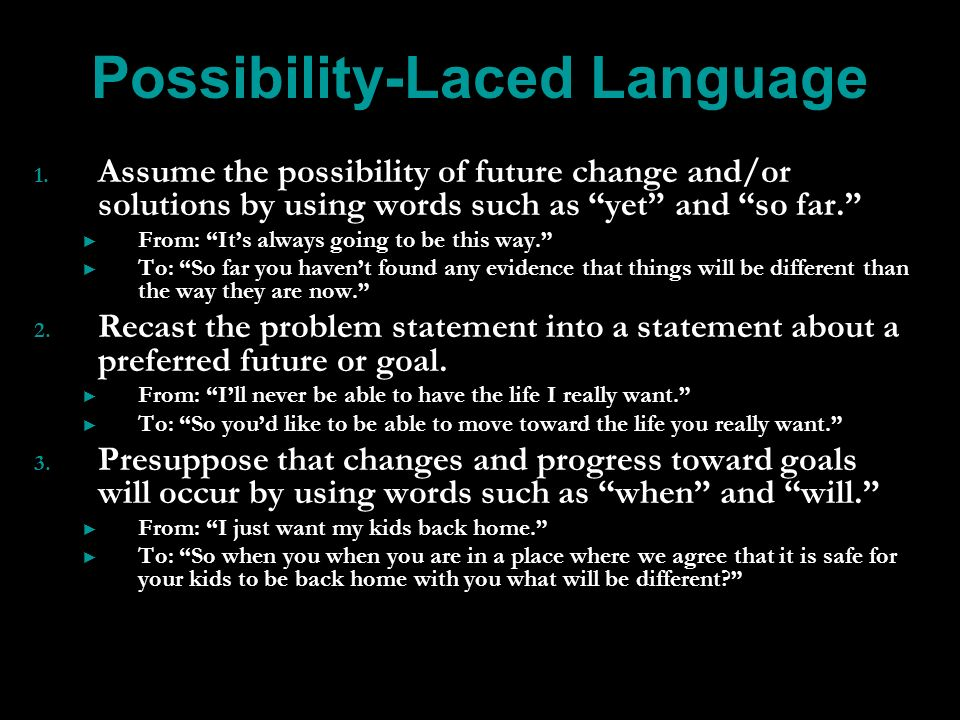 Possibility-Laced Language 1. 1.