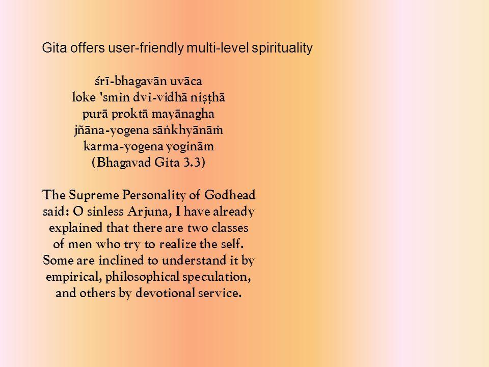çré-bhagavän uväca kutas tvä kaçmalam idaà viñame samupasthitam anärya-juñöam asvargyam akérti-karam arjuna (Bhagavad Gita 2.2) The Supreme Personality of Godhead said: My dear Arjuna, how have these impurities come upon you.