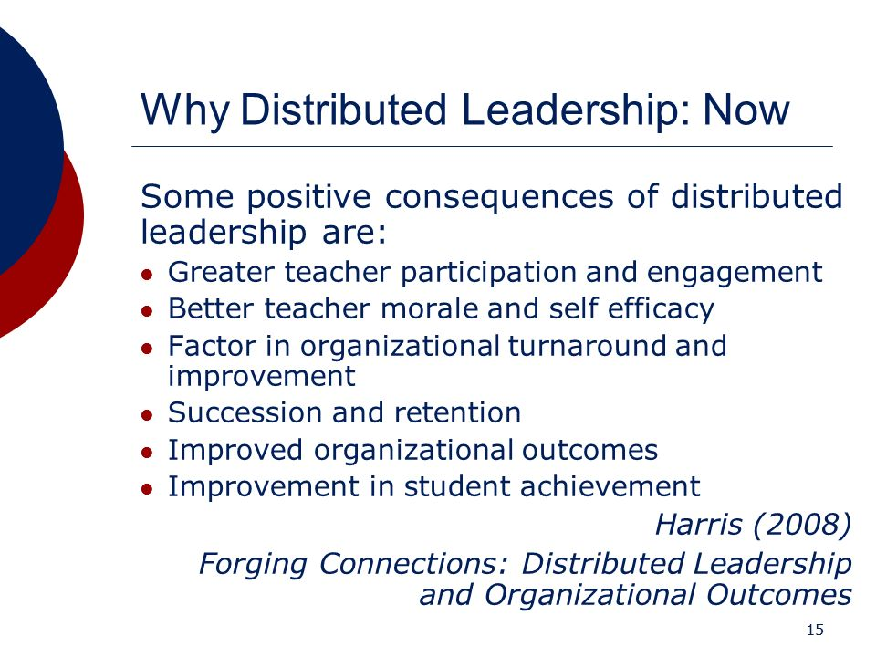 15 Why Distributed Leadership: Now Some positive consequences of distributed leadership are: Greater teacher participation and engagement Better teach