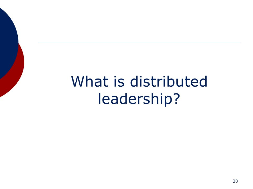 20 What is distributed leadership?