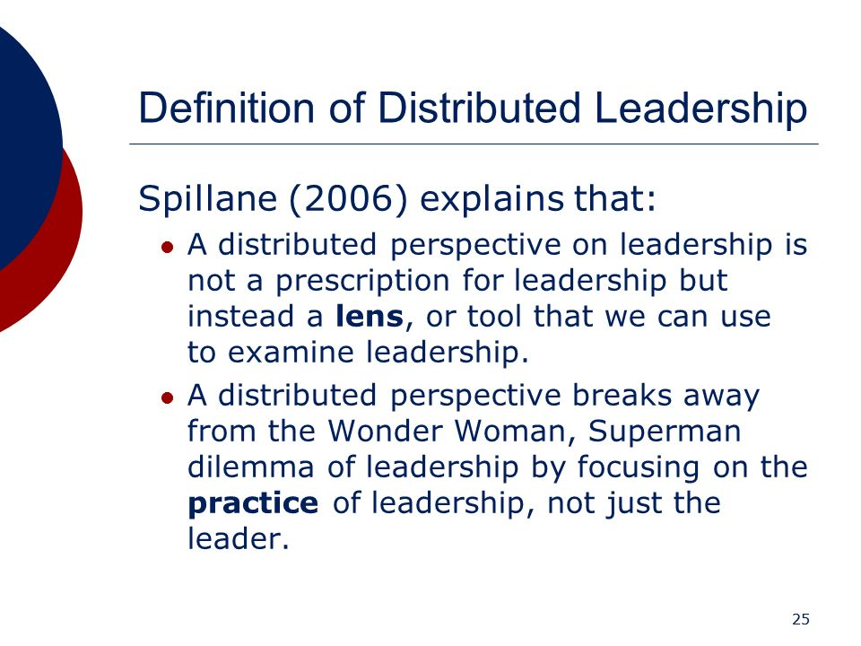 25 Definition of Distributed Leadership Spillane (2006) explains that: A distributed perspective on leadership is not a prescription for leadership bu