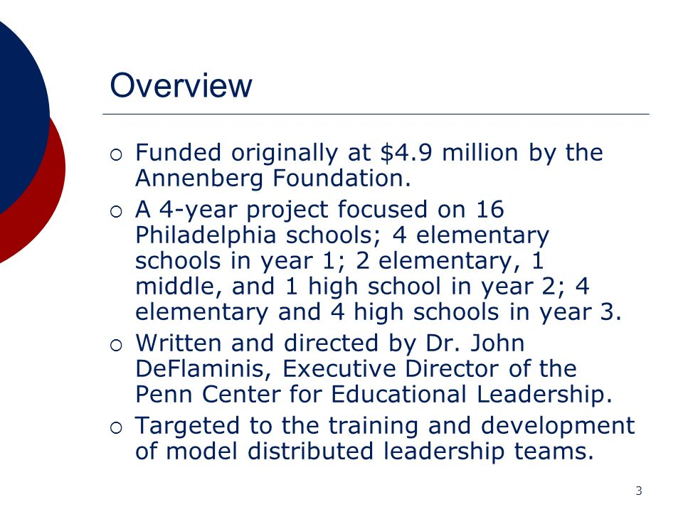 3 Overview Funded originally at $4.9 million by the Annenberg Foundation. A 4-year project focused on 16 Philadelphia schools; 4 elementary schools in