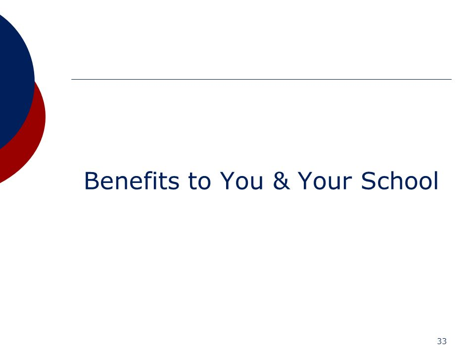 33 Benefits to You & Your School