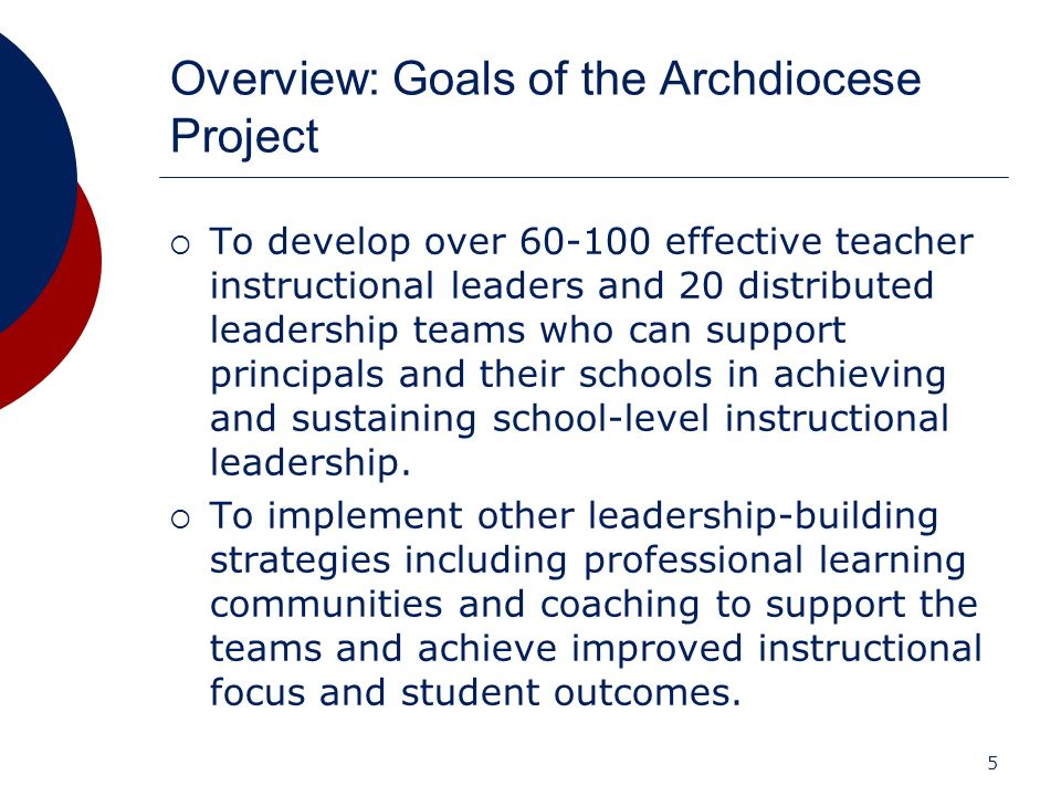 5 Overview: Goals of the Archdiocese Project To develop over 60-100 effective teacher instructional leaders and 20 distributed leadership teams who ca