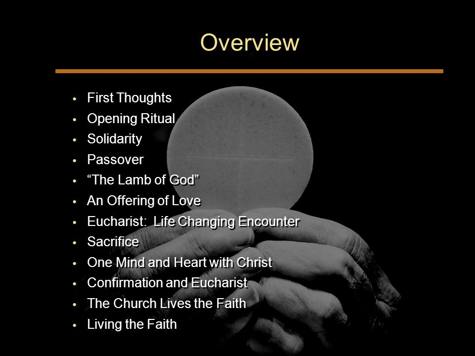 Overview First Thoughts Opening Ritual Solidarity Passover The Lamb of God An Offering of Love Eucharist: Life Changing Encounter Sacrifice One Mind and Heart with Christ Confirmation and Eucharist The Church Lives the Faith Living the Faith First Thoughts Opening Ritual Solidarity Passover The Lamb of God An Offering of Love Eucharist: Life Changing Encounter Sacrifice One Mind and Heart with Christ Confirmation and Eucharist The Church Lives the Faith Living the Faith