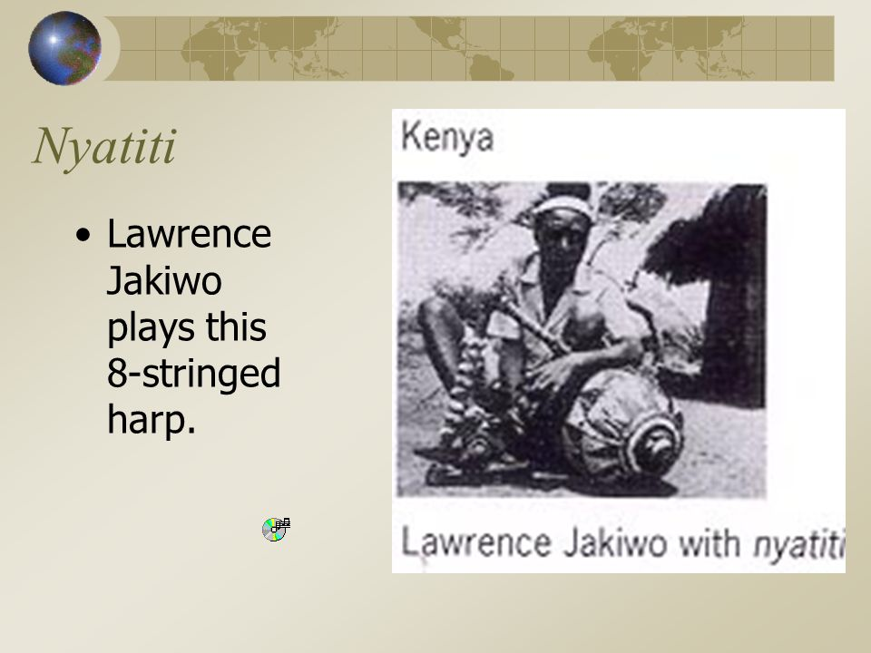 Nyatiti Lawrence Jakiwo plays this 8-stringed harp.