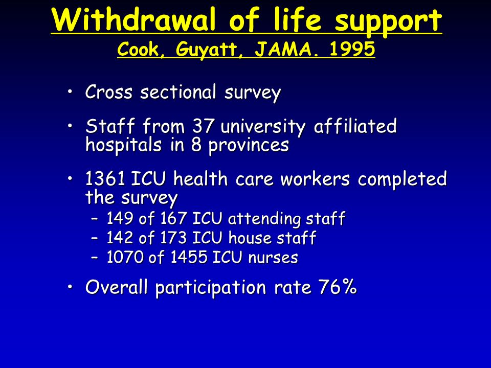 Withdrawal of life support Cook, Guyatt, JAMA. 1995 Cross sectional surveyCross sectional survey Staff from 37 university affiliated hospitals in 8 pr