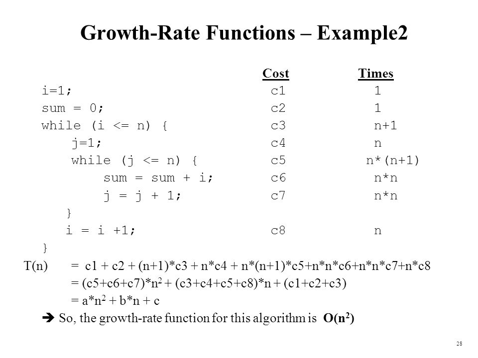 28 Growth-Rate Functions – Example2 CostTimes i=1; c1 1 sum = 0; c2 1 while (i <= n) { c3 n+1 j=1; c4 n while (j <= n) { c5 n*(n+1) sum = sum + i; c6