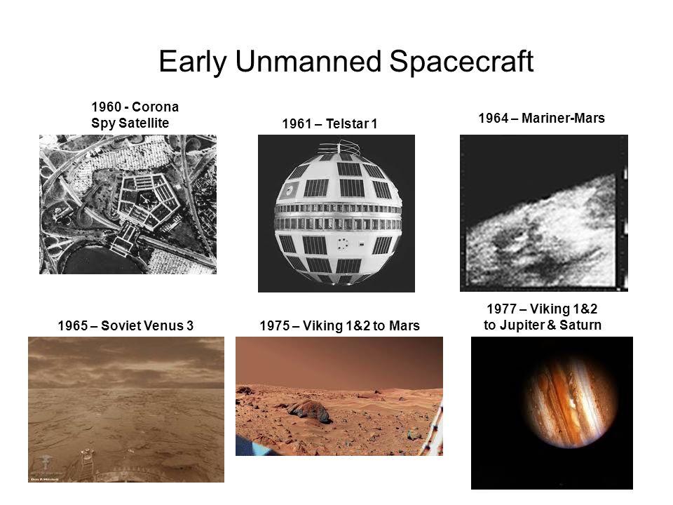 Early Unmanned Spacecraft 1960 - Corona Spy Satellite 1961 – Telstar 1 1965 – Soviet Venus 3 1964 – Mariner-Mars 1975 – Viking 1&2 to Mars 1977 – Viki