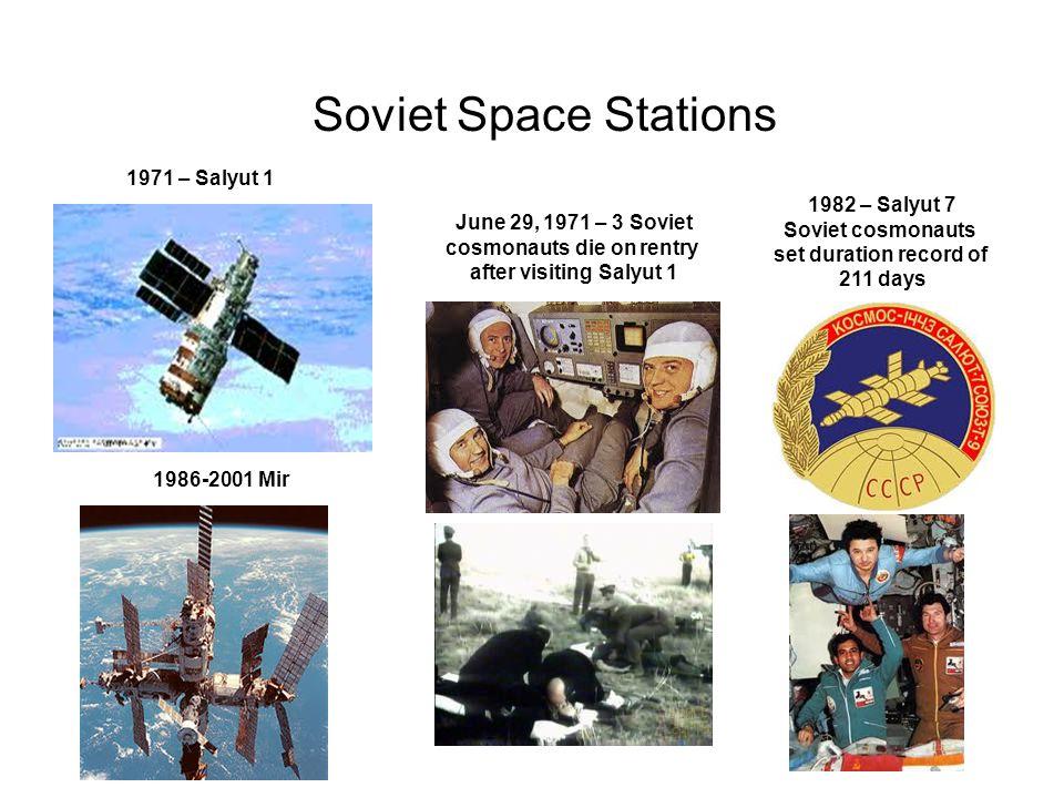 Soviet Space Stations 1971 – Salyut 1 June 29, 1971 – 3 Soviet cosmonauts die on rentry after visiting Salyut 1 1982 – Salyut 7 Soviet cosmonauts set