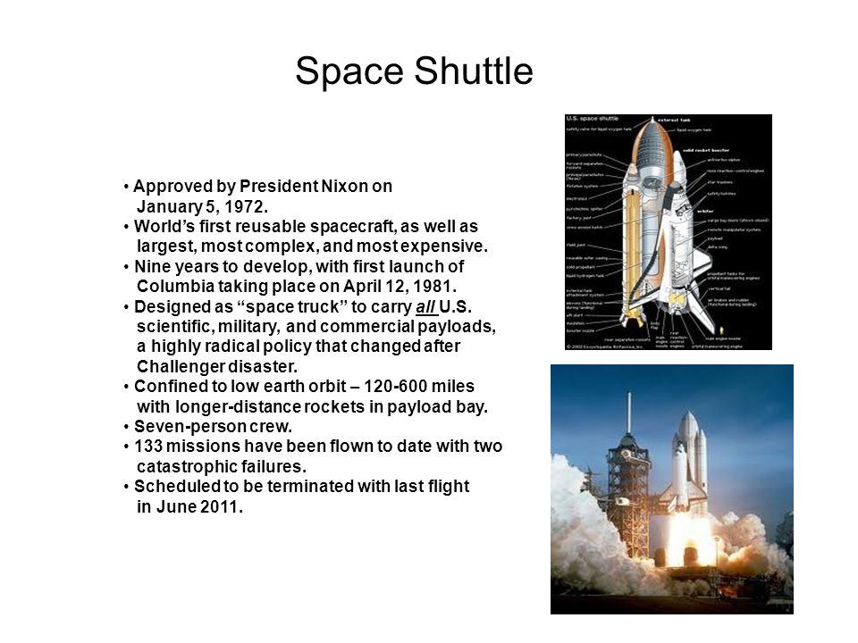 Space Shuttle Approved by President Nixon on January 5, 1972. Worlds first reusable spacecraft, as well as largest, most complex, and most expensive.