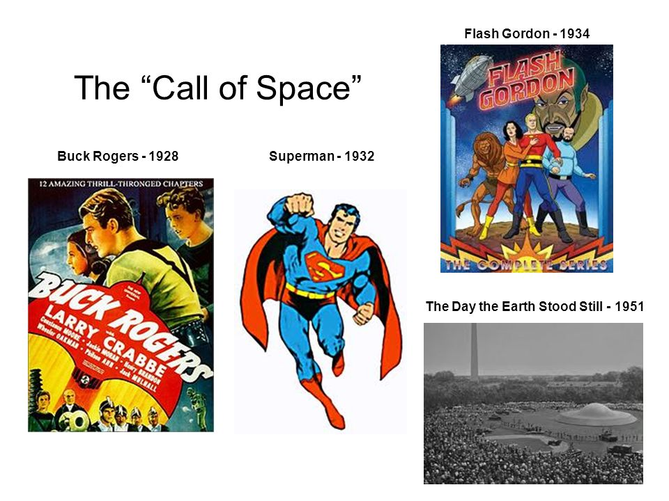 The Call of Space Flash Gordon - 1934 Buck Rogers - 1928 The Day the Earth Stood Still - 1951 Superman - 1932