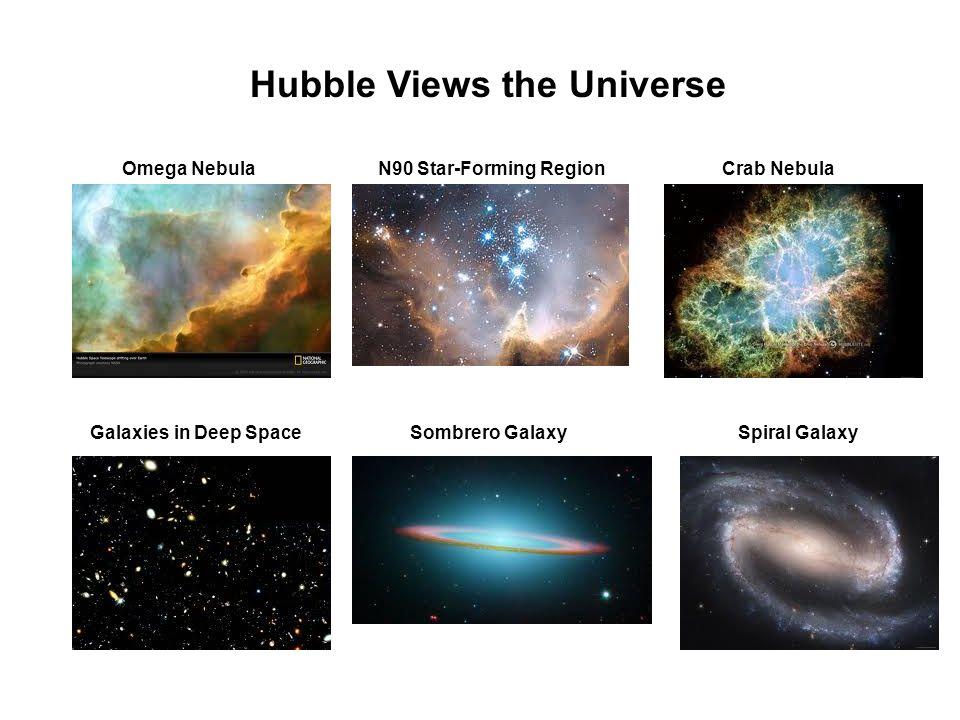 Hubble Views the Universe Omega NebulaN90 Star-Forming RegionCrab Nebula Galaxies in Deep SpaceSombrero GalaxySpiral Galaxy