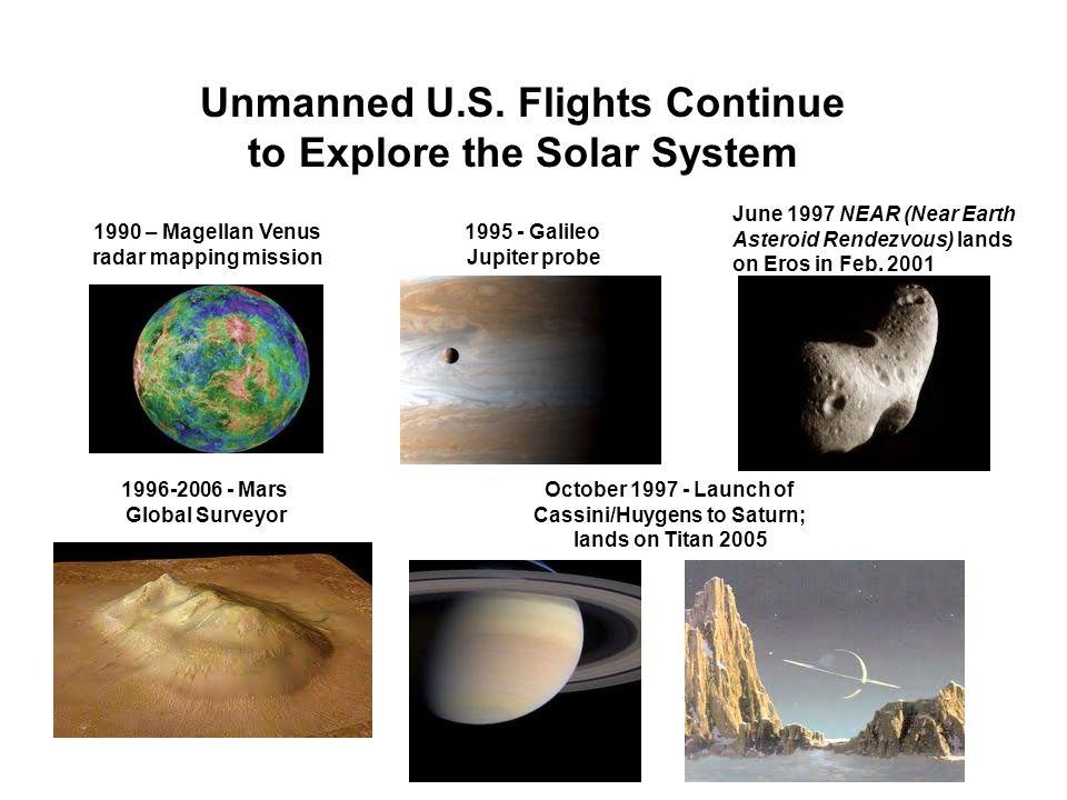 Unmanned U.S. Flights Continue to Explore the Solar System 1990 – Magellan Venus radar mapping mission 1995 - Galileo Jupiter probe June 1997 NEAR (Ne