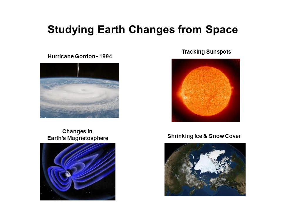 Studying Earth Changes from Space Hurricane Gordon - 1994 Tracking Sunspots Shrinking Ice & Snow Cover Changes in Earths Magnetosphere