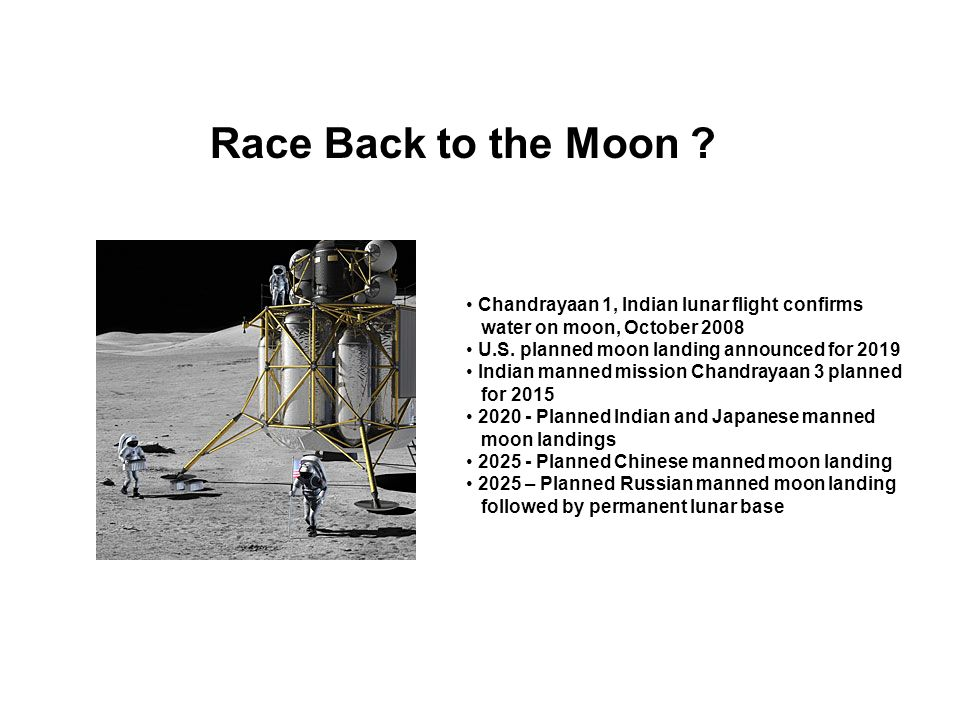 Race Back to the Moon ? Chandrayaan 1, Indian lunar flight confirms water on moon, October 2008 U.S. planned moon landing announced for 2019 Indian ma